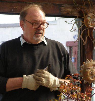 Joe Truskot demonstrates rose pruning techniques